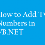 add two numbers in vb.net