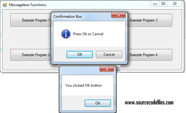messagebox example with if else condition