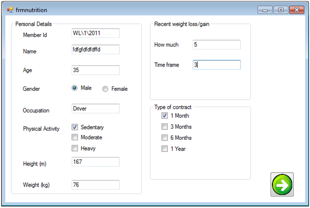 nutritional forms gym management system