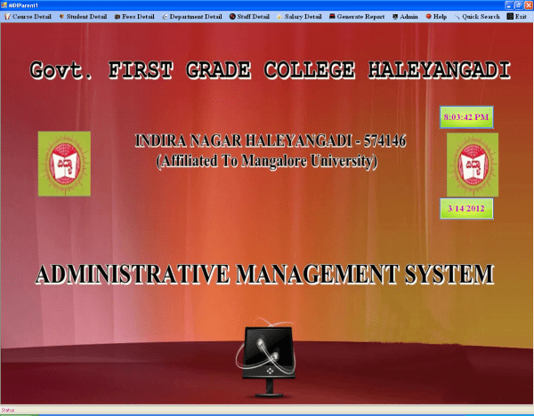 Screenshots Of Administrative Management System